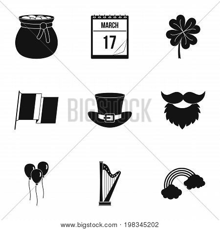 Saint Patrick day icon set. Simple style set of 9 Saint Patrick day vector icons for web isolated on white background