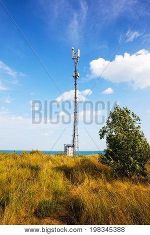 Weather Meter With Sea Background. Weather Station On The Coast Of The Black Sea In A Summer Sunny D