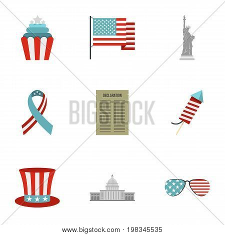 USA independence day icon set. Flat style set of 9 independence day vector icons for web isolated on white background