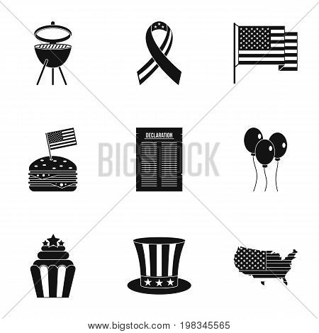 Fourth of July day icon set. Simple style set of 9 independence day vector icons for web isolated on white background