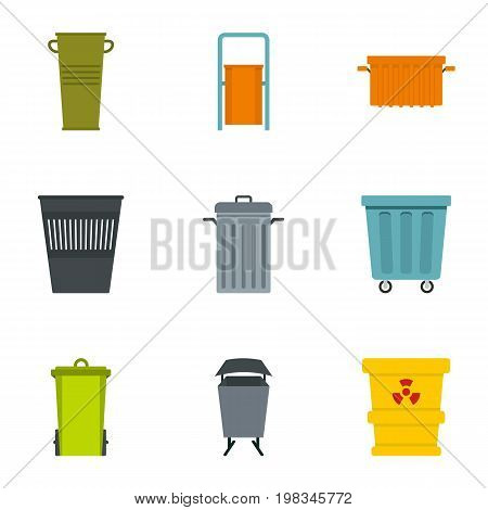 Garbage container icon set. Flat style set of 9 garbage storage vector icons for web isolated on white background