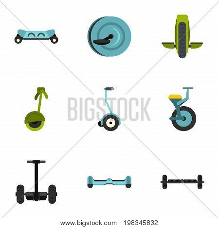 Segway icon set. Flat style set of 9 electric scooter vector icons for web isolated on white background
