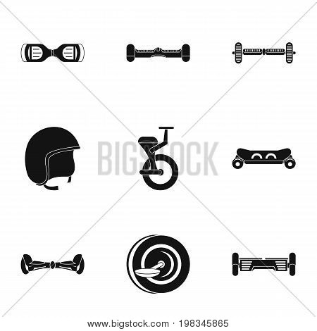 Balancing scooter icon set. Simple style set of 9 electric scooter vector icons for web isolated on white background