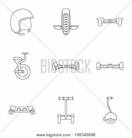 Segway icon set. Outline style set of 9 electric scooter vector icons for web isolated on white background