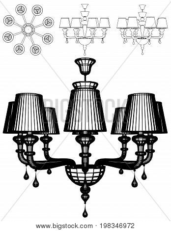 Luster Chandelier Decorative Black And White Isolated Illustration Vector