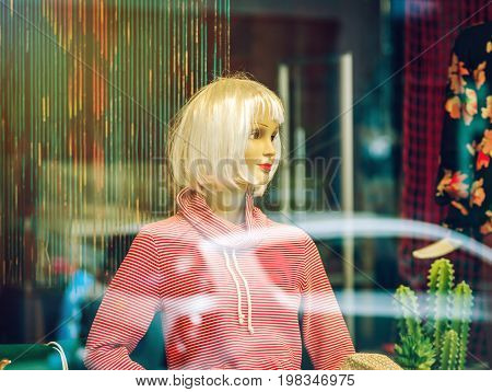 Woman Mannequin Inside The Shop, View Through The Window