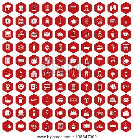 100 inn icons set in red hexagon isolated vector illustration