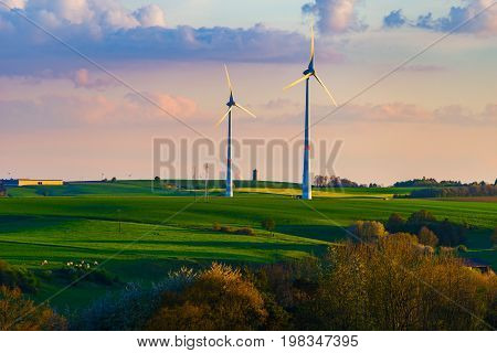 Beautiful Landscape With Yellow And Green Fields And Windfarm On Horizon Line