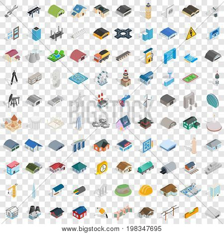 100 architecture icons set in isometric 3d style for any design vector illustration