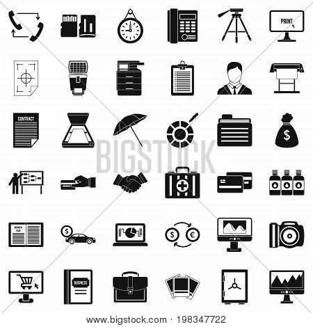 Building department icons set. Simple style of 36 building department vector icons for web isolated on white background