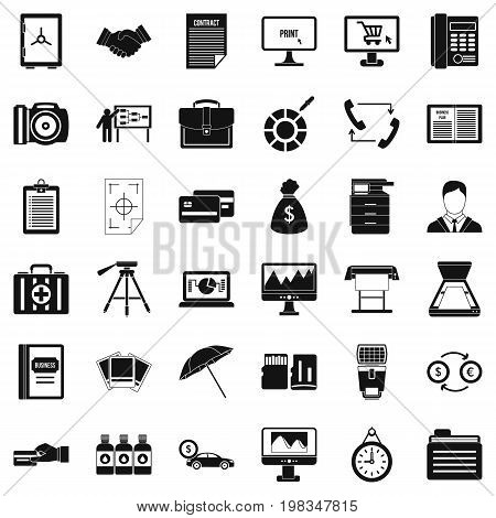 Department equipment icons set. Simple style of 36 department equipment vector icons for web isolated on white background