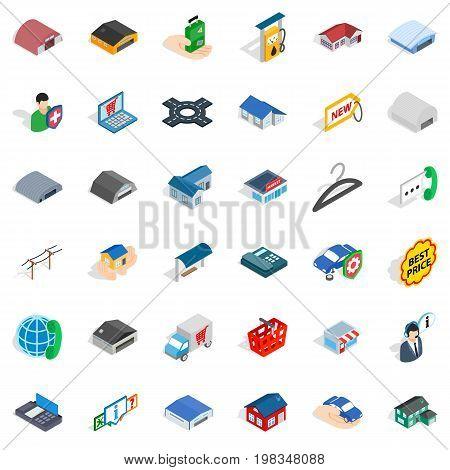 Deposit account icons set. Isometric style of 36 deposit account vector icons for web isolated on white background