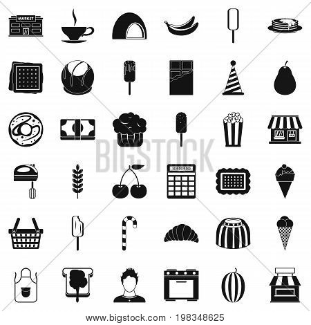Sweet dish icons set. Simple style of 36 sweet dish vector icons for web isolated on white background