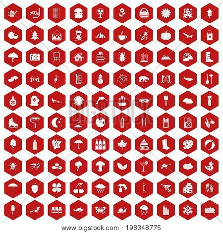 100 landscape icons set in red hexagon isolated vector illustration