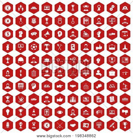 100 leadership icons set in red hexagon isolated vector illustration