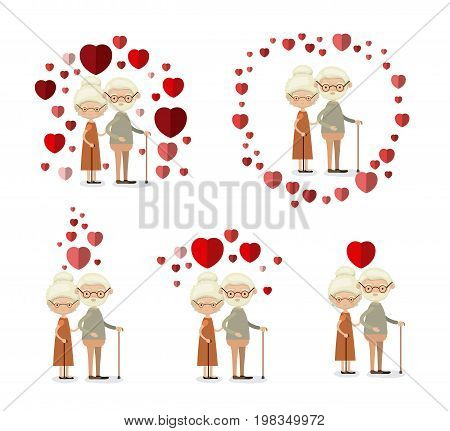 white background set full body elderly couple inlove grandparents with hearts floating around vector illustration poster