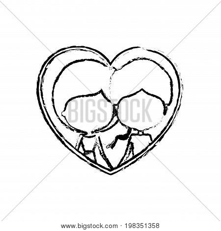 blurred silhouette heart shape with caricature faceless couple man and woman side ponytail hairstyle inside holding hands vector illustration