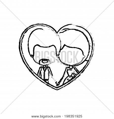 blurred silhouette heart shape with caricature faceless newly married couple inside of newly married couple young groom with formal wear and bride with side ponytail hairstyle and holdings hands vector illustration