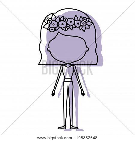 silhouette lilac color shadow of contour caricature faceless skinny woman in clothes with wavy short hairstyle and flower crown accesory vector illustration