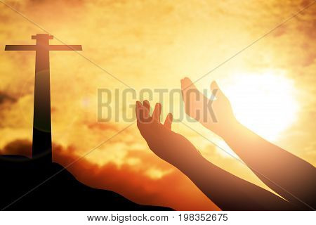 Human hands open palm up worship. Eucharist Therapy Bless God Helping Repent Catholic Easter Lent Mind Pray. Christian concept background. fighting and victory for god