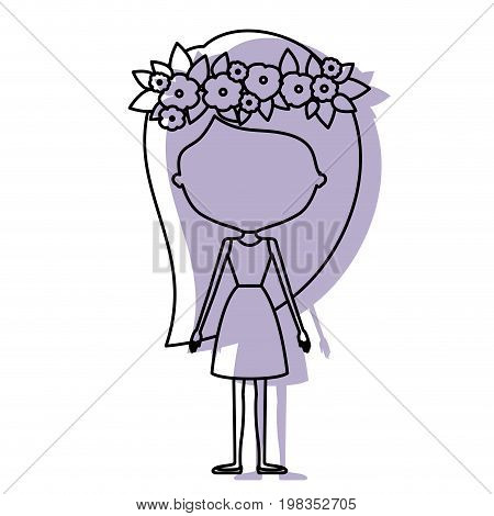 silhouette lilac color shadow of contour caricature faceless skinny woman in clothes with long hairstyle and flower crown accesory vector illustration