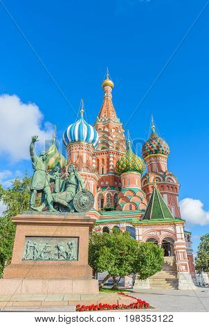 St. Basil's Cathedral At Red Square In Moscow, Russia