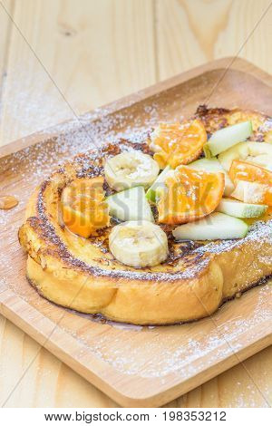 French Toast With Banana, Apple And Orange