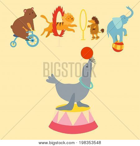 Circus funny animals set of vector icons cheerful zoo entertainment collection. Juggler pets magician performer carnival illustration. Vintage acrobat character.