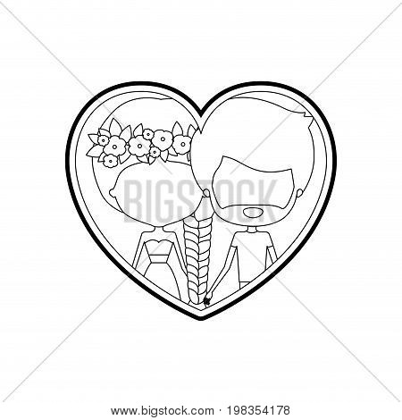 sketch silhouette heart shape with caricature faceless couple man and woman with braid and flower crown in hair inside holding hands vector illustration
