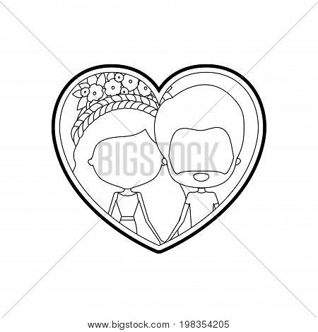 sketch silhouette heart shape with caricature faceless couple man and woman with long wavy braided hairstyle and flower crown in hair inside holding hands vector illustration
