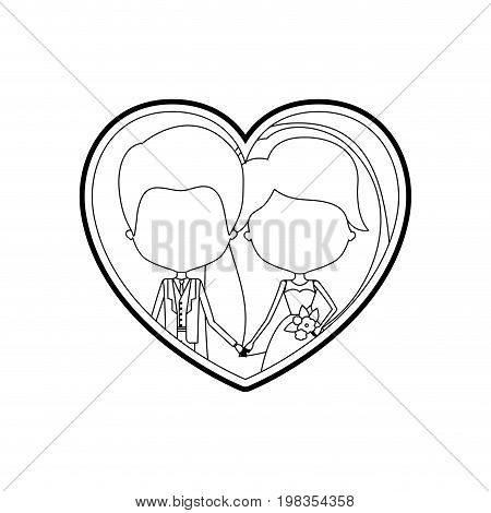 sketch silhouette heart shape with caricature faceless newly married couple groom with formal wear and bride with long hairstyle and holdings hands vector illustration