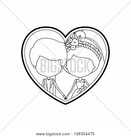 sketch silhouette heart shape with caricature faceless newly married couple young groom with formal wear and bride with collected hairstyle and holdings hands vector illustration