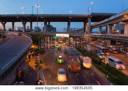 Bangkok Thailand-May 192015: Time lapse video of Bangna junction on night scene with twilight backgroundBangna is locate on east of Bangkok
