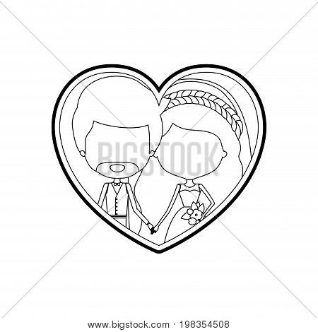 sketch silhouette heart shape with caricature faceless newly married couple bearded groom with formal wear and bride with wavy long hairstyle and holdings hands vector illustration