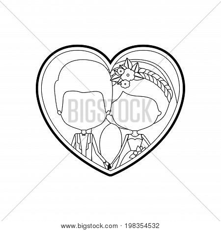 sketch silhouette heart shape with caricature faceless newly married couple groom with formal wear and bride with side ponytail hairstyle and holdings hands vector illustration