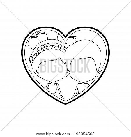 sketch silhouette heart shape with caricature faceless newly married couple man and woman with double buns hairstyle inside holding hands vector illustration