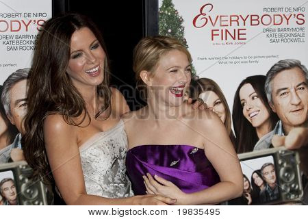 HOLLYWOOD, CA. - NOVEMBER 3: Kate Beckinsale (L) and Drew Barrymore (R attend the AFI Fest premier of Everybody's Fine at The Grauman's Chinese Theater on November 3, 2009 in Hollywood.