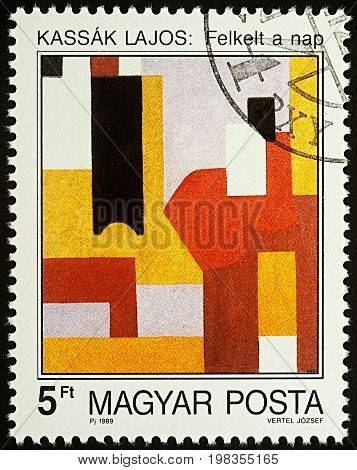 Moscow Russia - August 05 2017: A stamp printed in Hungary shows painting Sunrise by Lajos Kassak series