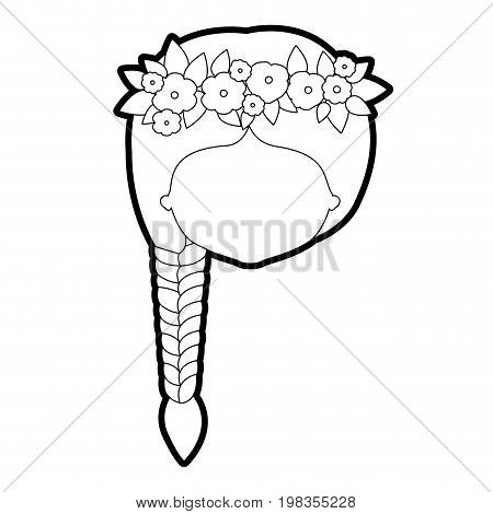 sketch silhouette of caricature faceless woman with braid hairstyle and crown decorate with flowers vector illustration