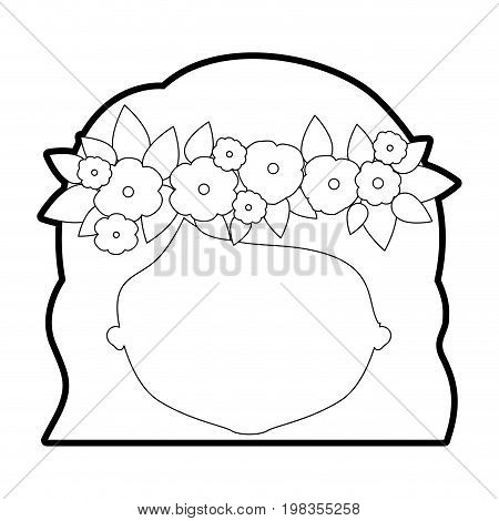 sketch silhouette of caricature faceless woman with wavy short hairstyle and crown decorate with flowers vector illustration