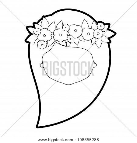sketch silhouette of caricature faceless woman with long side hairstyle and crown decorate with flowers vector illustration