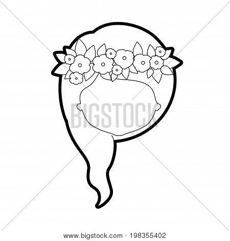 sketch silhouette of caricature faceless woman with wavy medium red hairstyle and crown decorate with flowers vector illustration