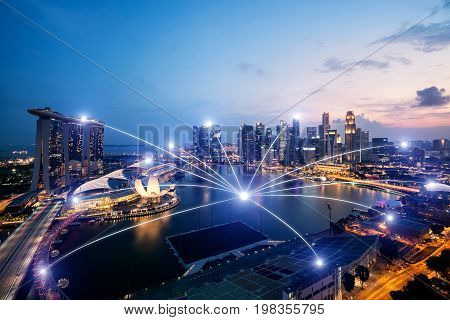 Network business connection system on Singapore smart cityscape in background. Network business conection concept