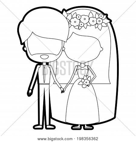 sketch silhouette of caricature faceless newly married couple groom with formal wear and bride with straight medium hairstyle vector illustration