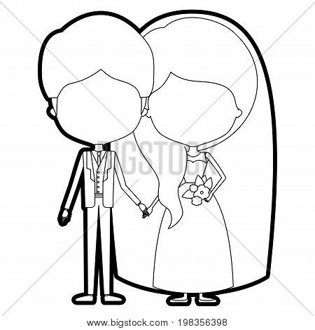 sketch silhouette of caricature faceless newly married couple groom with formal wear and bride with wavy side long hairstyle vector illustration