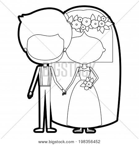 sketch silhouette of caricature faceless newly married couple groom with formal wear and bride with straight short hairstyle vector illustration