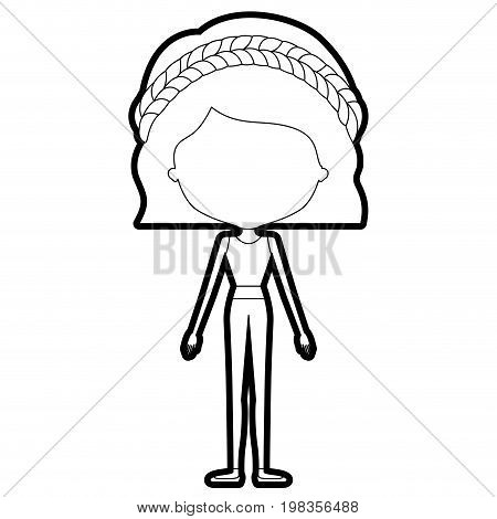 sketch silhouette of caricature skinny faceless woman in clothes with wavy short hairstyle and braid vector illustration