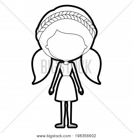 sketch silhouette of caricature skinny faceless woman in dress with double pigtails hairstyle and braid vector illustration