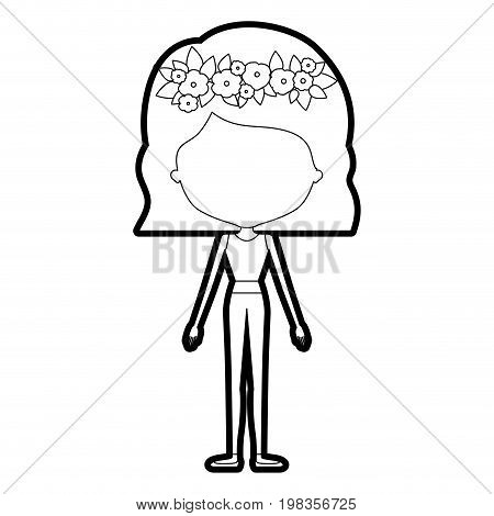 sketch silhouette of caricature skinny faceless woman in clothes with wavy short hairstyle and flower crown accesory vector illustration