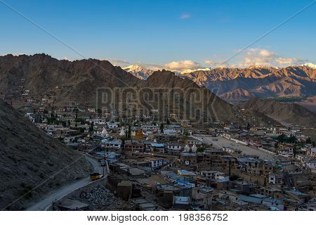 Aerial view of Leh city in the morning from Leh Palace, India